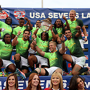South Africa defeated New Zealand 14-7 in the USA Sevens Cup Final on the hird and final day of action at the USA Sevens, Sam Boyd Stadium, Las Vegas, Nevada.  Photo by Barry Markowitz, Courtesy STP/TriMarine, 1/26/14, 4pm