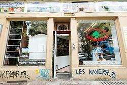 Exterior view of halal butcher shop in Neukolln district of Berlin Germany