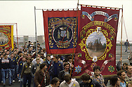 Kinsley Drift and Frickley Branch Banners on a Yorkshire Area NUM march in Barnsley.