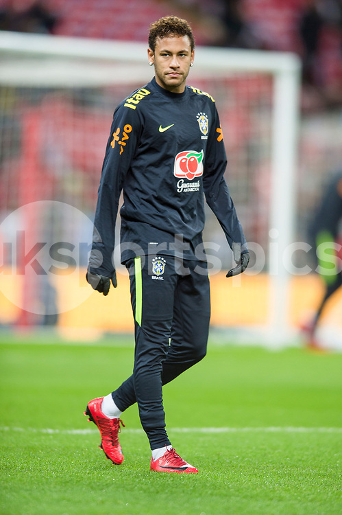 Neymar jr of Brazil warms up ahead of the international friendly match between England and Brazil at Wembley Stadium, London, England on 14 November 2017. Photo by Darren Musgrove.