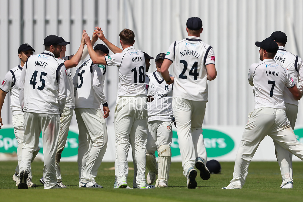 Wicket! Craig Miles of Warwickshire celebrates after taking the wicket of Tom Kohler-Cadmore of Yorkshire during the Specsavers County Champ Div 1 match between Yorkshire County Cricket Club and Warwickshire County Cricket Club at York Cricket Club, York, United Kingdom on 17 June 2019.