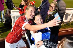 Millie Turner of Bristol City Women stops for a selfie with a fan - Mandatory by-line: Paul Knight/JMP - 03/05/2018 - FOOTBALL - Stoke Gifford Stadium - Bristol, England - Bristol City Women v Manchester City Women - FA Women's Super League 1