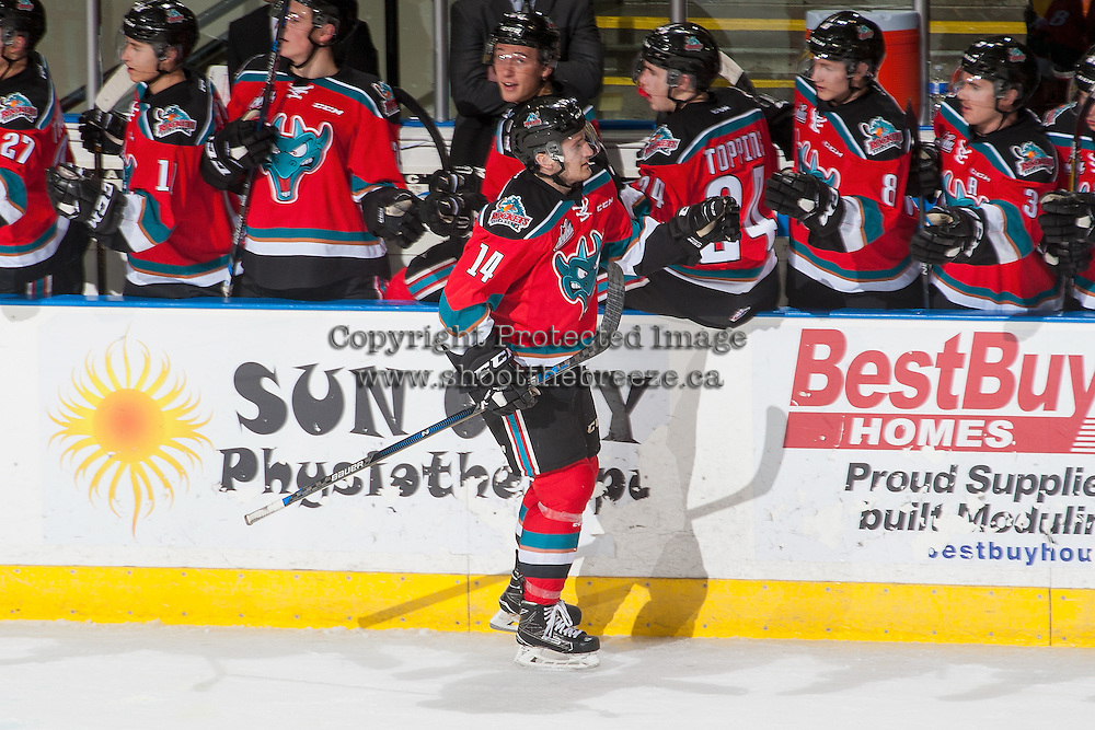 KELOWNA, CANADA - DECEMBER 7: Jake Kryski #14 of the Kelowna Rockets celebrates a second period goal against the Seattle Thunderbirds on December 7, 2016 at Prospera Place in Kelowna, British Columbia, Canada.  (Photo by Marissa Baecker/Shoot the Breeze)  *** Local Caption ***