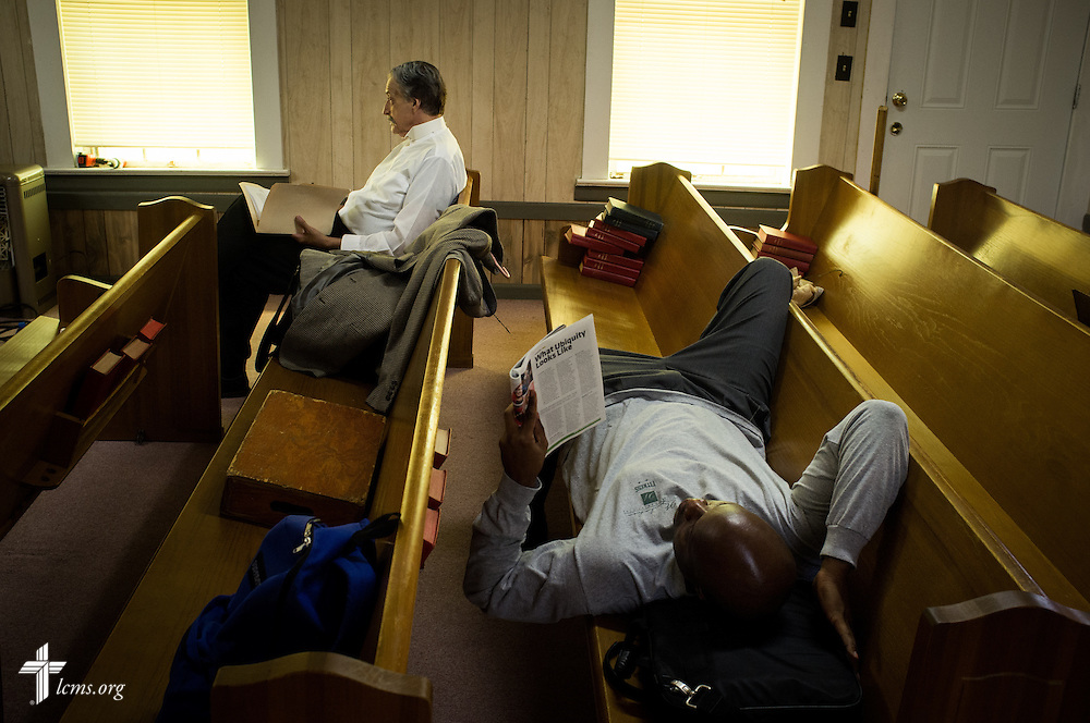 Actors Greg Thornton and Kalonji Gilchrist share downtime during filming of 'The First Rosa' documentary at Hope Lutheran Church on Wednesday, Sept. 24, 2014, near Selma, Ala. LCMS Communications/Erik M. Lunsford
