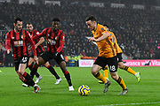 Diogo Jota (18) of Wolverhampton Wanderers on the attack during the Premier League match between Bournemouth and Wolverhampton Wanderers at the Vitality Stadium, Bournemouth, England on 23 November 2019.