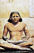 Model of seated scribe. 5th Dynasty c2750 BC. Cairo Museum, Egypt