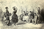 Gitana dansant dans un patio de Séville [Gypsy dancing in a patio in Seville] Page illustration from the book 'Spain' [L'Espagne] by Davillier, Jean Charles, barón, 1823-1883; Doré, Gustave, 1832-1883; Published in Paris, France by Libreria Hachette, in 1874