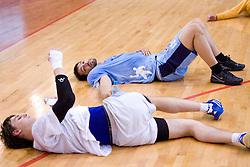 Sebastjan Skube and David Spiler at practice of Slovenian Handball Men National Team, on June 4, 2009, in Arena Kodeljevo, Ljubljana, Slovenia. (Photo by Vid Ponikvar / Sportida)