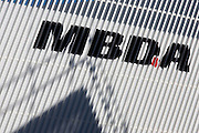 Logo of defence manufacturer MBDA at the Farnborough Air Show, England. MBDA, a world leader in missiles and missile systems, is a multi-national group with 10,000 employees working across France, the United Kingdom, Italy, Germany, Spain and the United States.