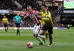 Jose Manuel Jurado of Watford takes on Glenn Whelan of Stoke City - Mandatory byline: Robbie Stephenson/JMP - 19/03/2016 - FOOTBALL - Vicarage Road - Watford, England - Crystal Palace v Leicester City - Barclays Premier League