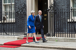 © Licensed to London News Pictures. 04/06/2019. London, UK. British Prime Minister Theresa May and Phillip May meet with US President Donald Trump at 10 Downing Street during a state visit. Photo credit: Ray Tang/LNP