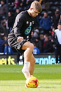 Derby County forward Jamie Ward (10) warms up ahead of the Sky Bet Championship match between Derby County and Sheffield Wednesday at the iPro Stadium, Derby, England on 21 February 2015. Photo by Aaron Lupton.