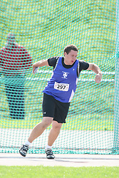 (Sherbrooke, Quebec---10 August 2008) Geoffrey Myatt competing in the youth boys discus at the 2008 Canadian National Youth and Royal Canadian Legion Track and Field Championships in Sherbrooke, Quebec. The photograph is copyright Sean Burges/Mundo Sport Images, 2008. More information can be found at www.msievents.com.