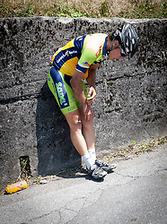 Injured Ziga Marolt (SLO) of Sava during Stage 3 from Skofja Loka to Vrsic (170 km) of cycling race 20th Tour de Slovenie 2013,  on June 15, 2013 in Slovenia. (Photo By Vid Ponikvar / Sportida)
