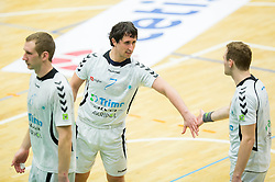 Jure Susin of Trimo Trebnje, Marko Radelj of Trimo Trebnje and Luka Florjancic of Trimo Trebnje during handball game between RK Trimo Trebnje and RK Gorenje Velenje in 3rd place match of Slovenian Cup  2014 on March 2, 2014 in Arena Golovec, Celje, Slovenia. Photo by Vid Ponikvar / Sportida