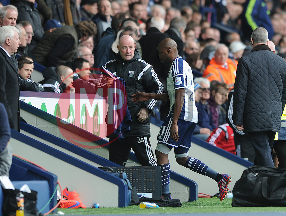 West Bromwich Albion's Youssuf Mulumbu walks down the tunnel after being sent off - Photo mandatory by-line: Dougie Allward/JMP - Mobile: 07966 386802 - 04/04/2015 - SPORT - Football - West Bromwich - The Hawthorns - West Bromwich Albion v QPR - Barclays Premier League