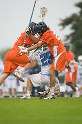 05 April 2008: Virginia Cavaliers defenseman Ken Clausen (27) during a 11-12 OT win over the North Carolina Tar Heels on Fetzer Field in Chapel Hill, NC.