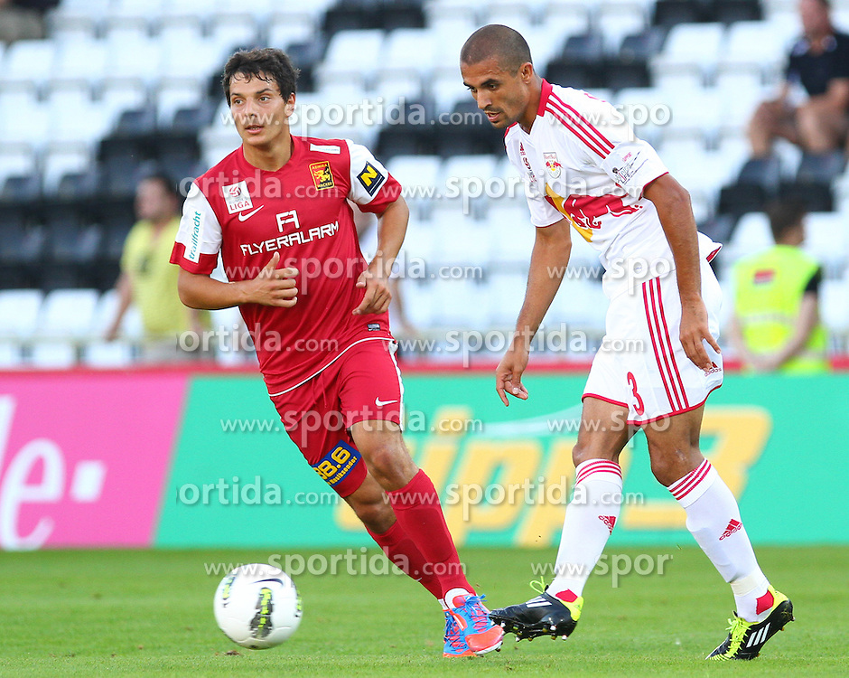 18.08.2012, Trenkwalder Arena, Maria Enzersdorf, AUT, 1. FBL, FC Admira Wacker Moedling vs FC Red Bull Salzburg, im Bild Philipp Hosiner, (FC Admira Wacker Moedling, #16) und Douglas da Silva, (Red Bull Salzburg, #3)  // during Austrian Bundesliga Football Match, round 1, between FC Admira Wacker Moedling vs FC Red Bull Salzburg at the Trenkwalder Arena, Maria Enzersdorf, Austria on 2012/08/18. EXPA Pictures © 2012, PhotoCredit: EXPA/ Thomas Haumer