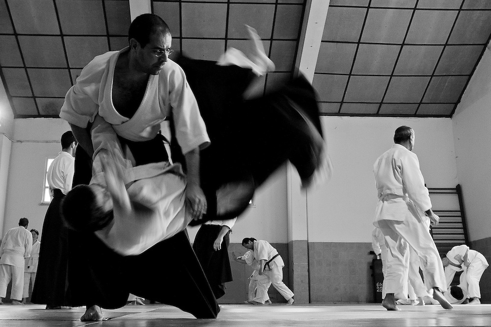 Aikido projection during an aikido seminar