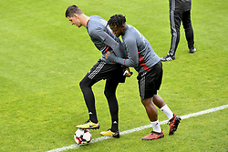 October 2, 2017 - Tubize, BELGIUM - Belgium's goalkeeper Thibaut Courtois and Belgium's Michy Batshuayi pictured during a training of Belgian national soccer team Red Devils, Monday 02 October 2017 in Tubize. The Red Devils will play a World Championships 2018 Qualification game against Bosnia on October 7th and against Cyprus on October 10th. BELGA PHOTO DIRK WAEM (Credit Image: © Dirk Waem/Belga via ZUMA Press)
