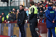 Hearts FC Manager Robbie Neilson and Hibernian FC Manager Alan Stubbs on the touchline during the Scottish Cup 5th round match between Heart of Midlothian and Hibernian at Tynecastle Stadium, Gorgie, Scotland on 7 February 2016. Photo by Craig McAllister.