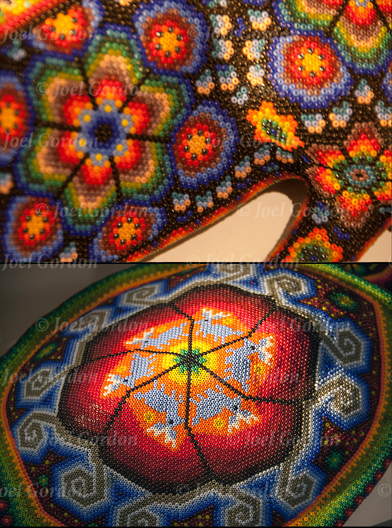 Close up of two Huichol Bead Art works.<br />