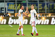 Stephan El Shaarawy of AS Roma celebrates after his goal with Alessandro Florenzi during the Italian championship Serie A football match between FC Internazionale and AS Roma on January 21, 2018 at Giuseppe Meazza stadium in Milan, Italy - Photo Morgese - Rossini / ProSportsImages / DPPI