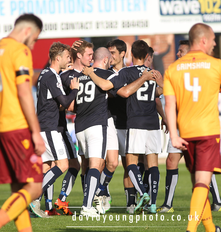 Dundee&rsquo;s Kevin Holt is congratulated after scoring the second - Dundee v Motherwell - Ladbrokes Premiership at Dens Park<br /> <br /> <br />  - &copy; David Young - www.davidyoungphoto.co.uk - email: davidyoungphoto@gmail.com