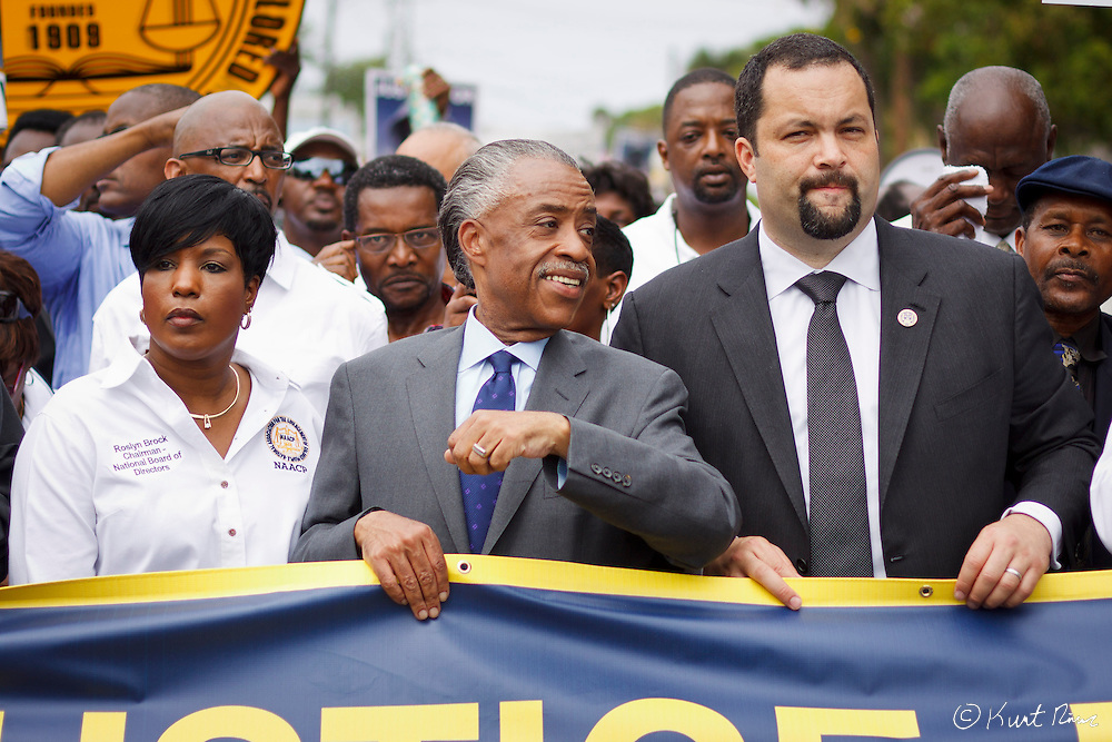 March 31, 2012 - Sanford, Florida, U.S. - ROSLYN BROCK, Reverend AL SHARPTON, and NAACP President BENJAMIN JEALOUS rally in the streets of Sanford, Florida for the justice of Treyvon Martin.