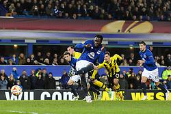 Everton's Romelu Lukaku scores the equaliser from the penalty spot, 1-1 - Photo mandatory by-line: Matt McNulty/JMP - Mobile: 07966 386802 - 26/02/2015 - SPORT - Football - Liverpool - Goodison Park - Everton v Young Boys - UEFA EUROPA LEAGUE ROUND OF 32 SECOND LEG
