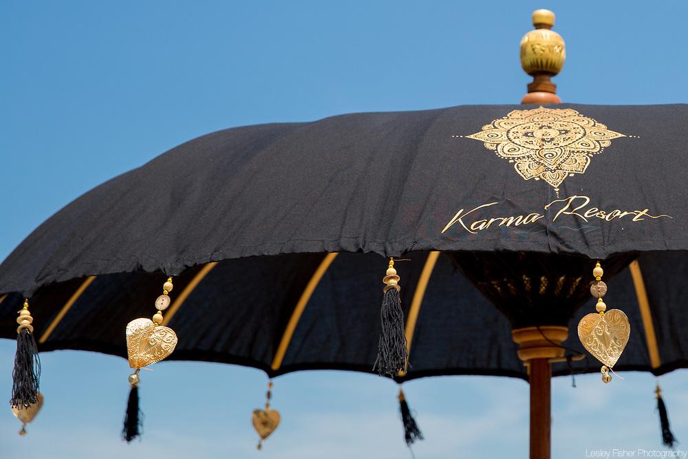 Umbrellas at Karma Beach Resort, a unique resort located on Bophut Beach, Koh Samui, Thailand