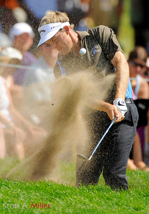 Aug 14, 2009; Chaska, MN, USA; Stuart Appleby (AUS) hits out of a bunker during the second round of the 2009 PGA Championship at Hazeltine National Golf Club.  ©2009 Scott A. Miller