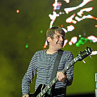 """WESTON PARK, UK:.Gary """"Mani"""" Mounfield, of The Stone Roses on stage at the V Festival on Sunday 19th August 2012..PHOTOGRAPH BY TERRY KANE / BARCROFT MEDIA LTD..UK Office, London..T: +44 845 370 2233.E: pictures@barcroftmedia.com.W: www.barcroftmedia.com..Australasian & Pacific Rim Office, Melbourne..E: info@barcroftpacific.com.T: +613 9510 3188 or +613 9510 0688.W: www.barcroftpacific.com..Indian Office, Delhi..T: +91 997 1133 889.W: www.barcroftindia.com"""