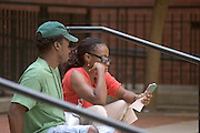 Larry Highbaugh Jr., & Wife Theresa Highbaugh look at map while their daughter is at pre-college at Ohio University.