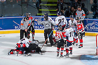 KELOWNA, CANADA - OCTOBER 31: Ice officials intervene between the Kelowna Rockets and the Lethbridge Hurricanes on October 31, 2015 at Prospera Place in Kelowna, British Columbia, Canada.  (Photo by Marissa Baecker/Shoot the Breeze)  *** Local Caption *** ice officials;