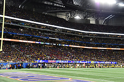 during the second half of an NCAA football Chick-fil-A Peach Bowl on December 29, 2018, in Atlanta. Florida won 41-15.  (David Tulis via Abell Images for Chick-fil-A Peach Bowl)