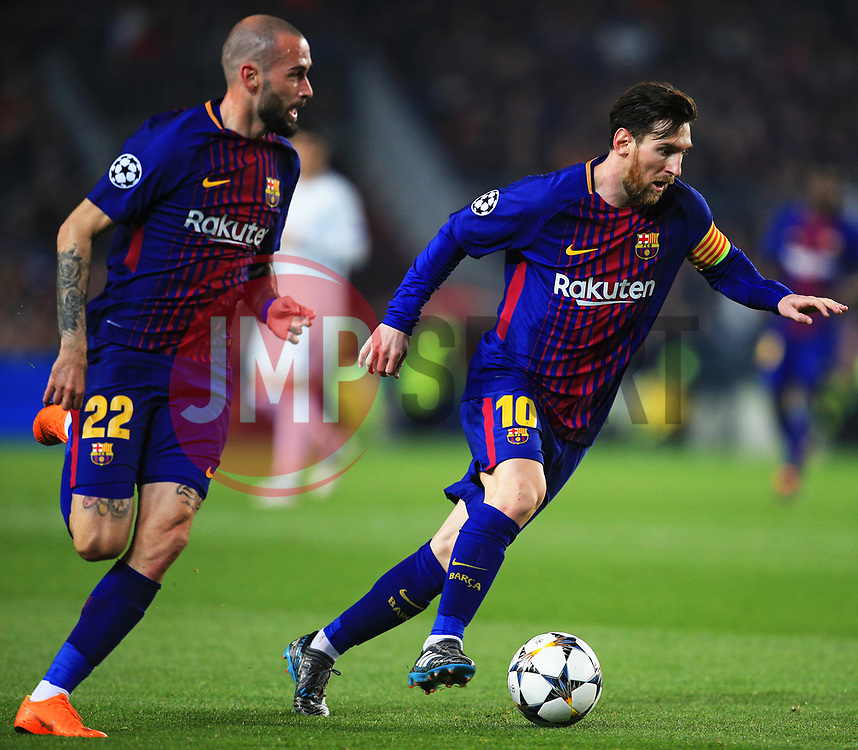 Aleix Vidal overlaps past Lionel Messi of Barcelona - Mandatory by-line: Matt McNulty/JMP - 14/03/2018 - FOOTBALL - Camp Nou - Barcelona, Catalonia - Barcelona v Chelsea - UEFA Champions League - Round of 16 Second Leg