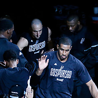 01 May 2017: San Antonio Spurs forward LaMarcus Aldridge (12) and San Antonio Spurs guard Manu Ginobili (20) are seen during the players introduction prior to the Houston Rockets 126-99 victory over the San Antonio Spurs, in game 1 of the Western Conference Semi Finals, at the AT&T Center, San Antonio, Texas, USA.