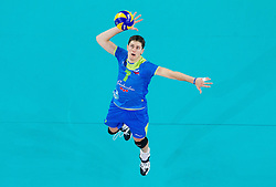 Matevz Kamnik #7 of Slovenia during qualifications match of FIVB Men's Volleyball World Championship 2014 between National teams of Slovenia and Hungary in pool B on May 25, 2013 in Arena Stozice, Ljubljana, Slovenia. Slovenia defeated Hungary 3-0. (Photo By Vid Ponikvar / Sportida)