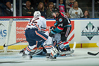KELOWNA, CANADA - SEPTEMBER 22: Kyle Topping #24 of the Kelowna Rockets scores a goal against Dylan Ferguson #31 of the Kamloops Blazers on September 22, 2017 at Prospera Place in Kelowna, British Columbia, Canada.  (Photo by Marissa Baecker/Shoot the Breeze)  *** Local Caption ***