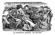 An Underground Impromptu. The Tube Step. (an Edwardian cartoon shows commuters resembling dance moves on a jolting tube train in London)