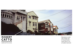 Typical houses and street scenes at Mt Victoria, Wellington, New Zealand.