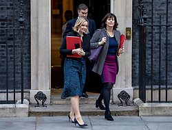 "© Licensed to London News Pictures. 26/02/2019. London, UK. Secretary of State for Work and Pensions Amber Rudd (L), Justice Secretary David Gauke (C) and Minister of State at Department for Business, Energy and Industrial Strategy Claire Perry (R) leave 10 Downing Street after the Cabinet meeting. All three ministers have suggested that they would consider resigning from government in order to vote against the possibility of a ""no deal"" Brexit. Photo credit: Rob Pinney/LNP"