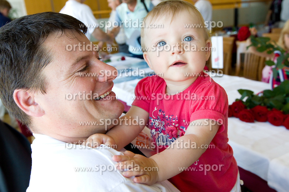 Andrej Hajnsek and his daughter Nina  at arrival of team Slovenia at the end of European Athletics Championships Barcelona 2010 to Slovenia, on August 2, 2010 at Airport Joze Pucnik, Brnik, Slovenia. (Photo by Vid Ponikvar / Sportida)