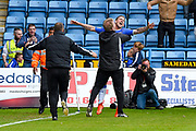Gillingham  manager Adrian Pennock celebrates wth Gillingham forward Cody MacDonald (10) after scoring a goal (3-1) during the EFL Sky Bet League 1 match between Gillingham and Bristol Rovers at the MEMS Priestfield Stadium, Gillingham, England on 14 April 2017. Photo by Martin Cole.