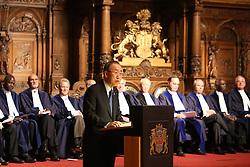 UN-Generalsekret‰r Ban Ki Moon bei seiner Rede <br /> dahinter die 21 Richter des Seegerichtshofes<br /> 20 Jahre Internationaler Seegerichtshof Hamburg<br /> Jubil‰umsfeier Festakt im Rathaus Hamburg Grosser Festsaal  / 071016<br /> <br /> ***Ceremony 20 years International Maritime Court (Internationaler Seegerichtshof) in Hamburg, Germany, October 07, 2016 ***
