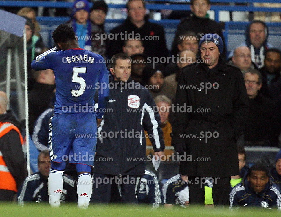 10.11.2010, Stamford Bridge, London, ENG, PL, FC Chelsea vs FC Fulham, im Bild Michael Essien of Chelsea  is shown red  during  and walks off Chelsea fc vs  Fulham fc for the EPL at Stamford Bridge in London on 10/11/2010. EXPA Pictures © 2010, PhotoCredit: EXPA/ IPS/ Marcello Pozzetti +++++ ATTENTION - OUT OF ENGLAND/UK +++++