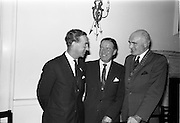 "23/09/1963<br /> 09/23/1963<br /> 23 September 1963<br /> Mr Colm Barnes addressing Rotary Club at the Hibernian Hotel, Dublin. Mr Barnes (centre), Chairman of the Institute of Industrial Research and Standards and Joint Managing Director, Glen Abbey Textiles Ltd., who addressed the Dublin Rotary Club on ""Industrial Research"", with Dr. B.J. Senior, (right) President of the Dublin Rotary Club and Mr Roy Houston (left) who also spoke  at the luncheon."