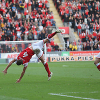 Rotherham United VS Scunthorpe United, New York Stadium Rotherham, Saturday 14th October 2017 <br /> <br /> Will Vaulks of Rotherham United Celebrates scoring his volley for Rotherham VS Scunthorpe  1-0 <br /> <br /> Picture - Alex Roebuck / www.alexroebuck.co.uk