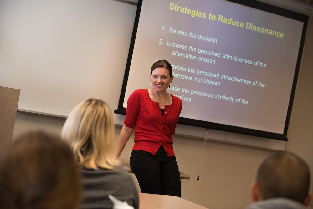 Marketing Professor Peggy Sue Loroz teaching her class<br /> Photo by Rajah Bose